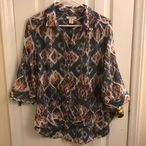 Westbound Petites Button Up Boho Top Like New